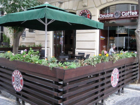 Double Coffee outside seating area in Nizami Street, Baku